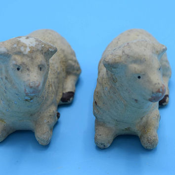 Chalkware Japan Pair White Sheep Vintage Chalk Ware Lamb Set of 2 Sitting Sheep Nativity Animals Christmas Nativity Easter Decor Gift