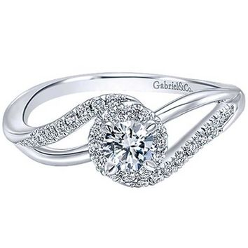 Gabriel 14K White Gold Pre-Set Diamond Swirl Halo Engagement Ring