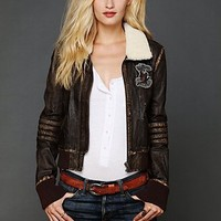 Free People Distressed Bomber Jacket
