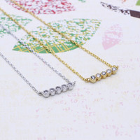 Five Cubic Bar necklace in  silver or gold tone