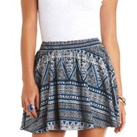 Smocked-Waist Mixed Print Skater Skirt - Blue Combo