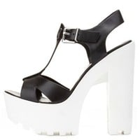 Chunky Lug-Soled T-Strap Sandals by Charlotte Russe