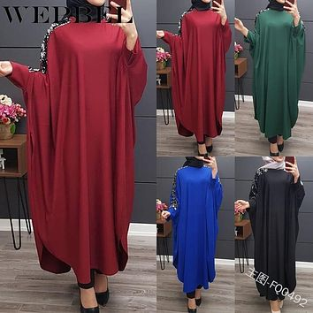WEPBEL Women Sequin Dress Abaya Dubai Islamic Muslim Party Arabic Fashion Kimono Long Maxi Dress