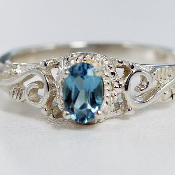 London Blue Topaz Filigree Ring Sterling Silver, December Birthstone Ring, Sterling Filigree Ring, Oval Blue Topaz Ring, 925 Filigree Ring