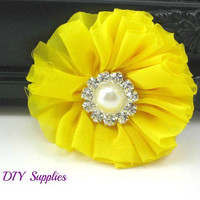 Yellow chiffon fabric flower with pearl rhinestone center - wholeslae fabric flowers for diy headband - ballerina flowers