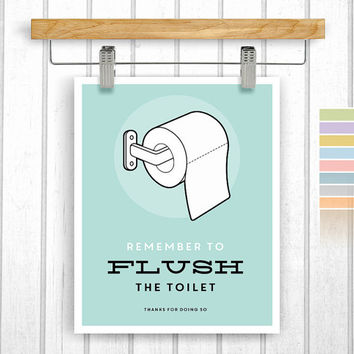 Bathroom print - Digital Download - Flush the toilet - Printable 8x10 - Bathroom rules - Instant Download - Poster Art - Retro