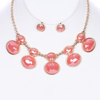 Oval Glass Stone Earring & Necklace Set
