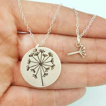 Mother Daughter Necklace Set Jewelry Dandelion Necklace Best Friends Necklace