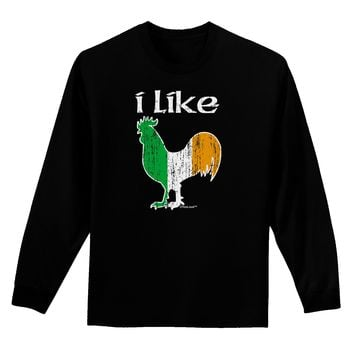 I Like Irish Rooster Silhouette Adult Long Sleeve Dark T-Shirt by TooLoud