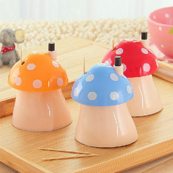 New pocket Plastic Mushroom Design Automatic Toothpick Holder dispenser Box CN post #70002