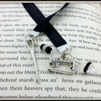 Ribbon Bookmark, Sewing Charm, Sewing Machine, Needle Charm, Sewing Needle charm, Sewing Lovers, Swarovski Crystal, Black Ribbon, Book Thong