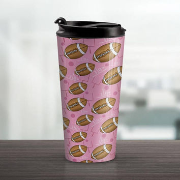 Pink Football Travel Mug - Sports Pattern with Footballs over Pink - 15oz Stainless Steel - Made to Order