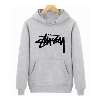 DCCKUNT Trendy Stussy Print Gray Sports Hoodies Pullover Sweater
