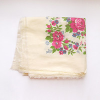 Vintage Russian Floral Shawl 70s floral folk cotton accessory, rustic, Soviet era USSR, ivory, pink, blue