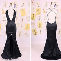 Sexy Black Deep V Neck Open Back Split Front Mermaid Prom Dress/Sexy Mermaid Evening Gown/Sexy Black Dress/Sexy Mermaid Party Dress  DAF0004