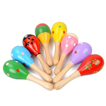 1 Pcs Colorful Wooden Toys Noise Maker Musical Baby Toys Rattles Baby Toy For Children Musical Instrument Learning Toy