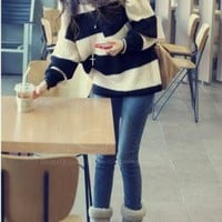 Navy and White Striped Oversized Sweater