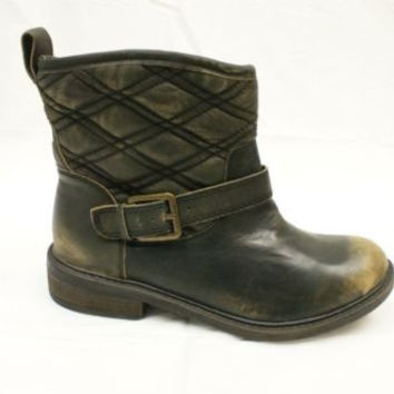 LUCKY BRAND LK-NORDIC DARK OLIVE BRUSH OFF LEATHER ANKLE BOOTS  5.5 M