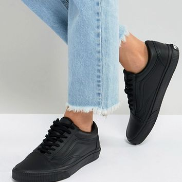 Vans Black Leather Old Skool Trainers With Embossed Sole at asos.com
