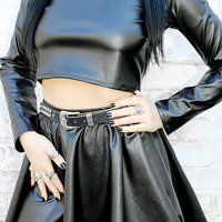 ADELE PSYCH 'Enthrall' Glam Goth Rock Heavy Metal style Black Shiny  Faux Leather Full Circle Mini Skirt