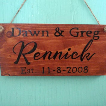 Rustic family name sign - Rustic established sign - Custom name sign - Wedding gift - Anniversary gift - Bridal shower gift - Rustic sign