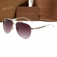 """Gucci"" Fashion Simple Oval Frame Sunglasses Glasses Collocation Accessories"