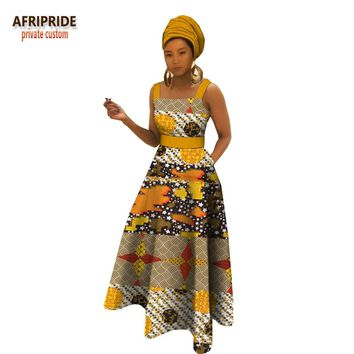 spring african maxi dress for women AFRIPRIDE square collar floor length tank women cotton dress with sashes A1825043