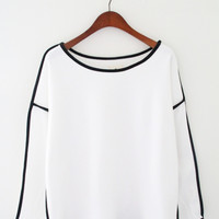 White Long Sleeved Shirt with Black Lining