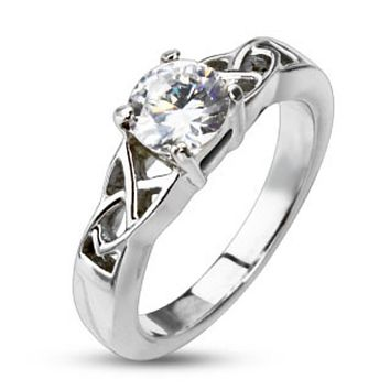 Knotted Frame with Clear CZ Solitaire Prong Set Ring Stainless Steel