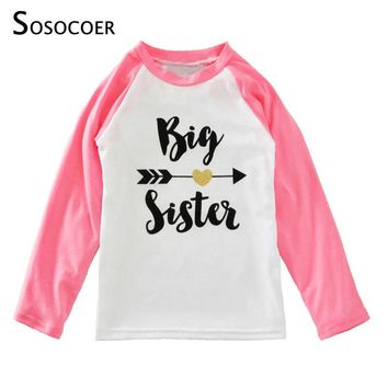 SOSOCOER Big Sister Girls T Shirts 2017 Spring Arrow Heart Baby Girl Clothes Toddler Long Sleeve T-shirts For Kids Boy Costume
