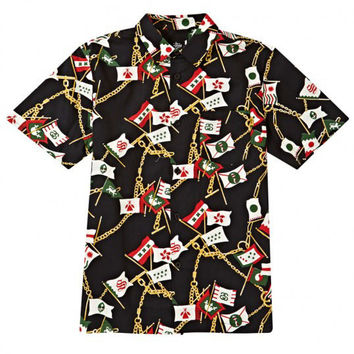 Stussy: Flags & Chains Button Down Shirt - Black