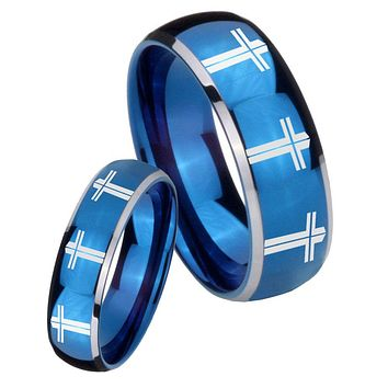 His Her Glossy Blue Dome Multiple Christian Cross Two Tone Tungsten Wedding Rings Set