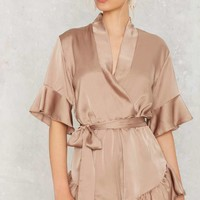 Mad World Ruffled Romper - Tan