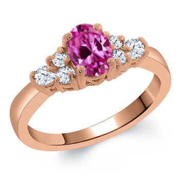 0.84 Ct Oval Pink Created Sapphire White Topaz 925 Rose Gold Plated Silver Ring