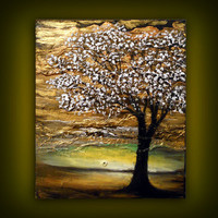 palette knife tree painting 16 x 20 texture by mattsart on Etsy