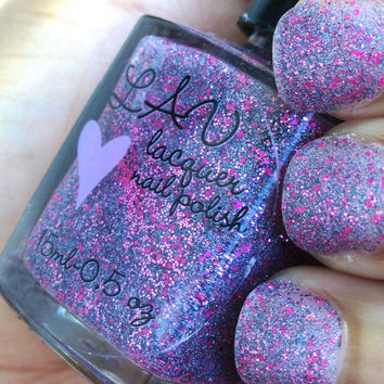 One in A Million / NEON Pink / Blue Holographic Custom glitter Nail Polish Lacquer / Indie Polish