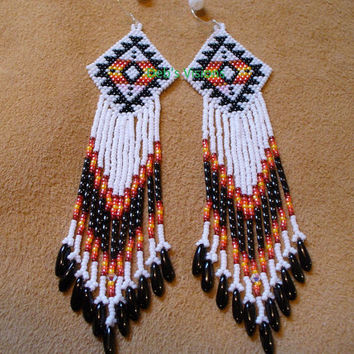 Native American Style Roxanne Bird earrings in White