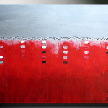 SALE Red Abstract Modern Large 36 ORIGINAL Contemporary Fine Art silver Metallic Painting by ORIT Israel