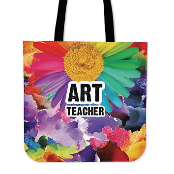 Rainbow Art Teacher Linen Tote Bag