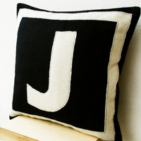 Customized Monogram throw pillow- Felt pillow cover -  Navy Blue Cream monogram cushion - Gift - Felt monogram - Felt cushion -16x16 pillow