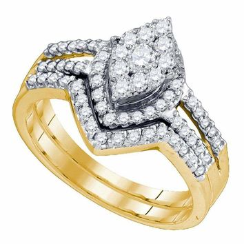 10kt Yellow Gold Women's Round Diamond Oval Cluster Bridal Wedding Engagement Ring Band Set 3/4 Cttw - FREE Shipping (US/CAN)