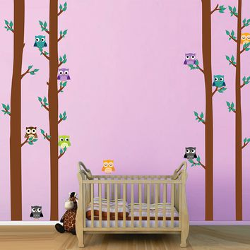 cik1680 Full Color Wall decal bedroom children's Custom Baby Nursery tree nusery decal tree forest owl birds