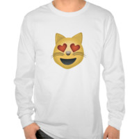Smiling Cat Face With Heart Shaped Eyes Emoji Tshirts