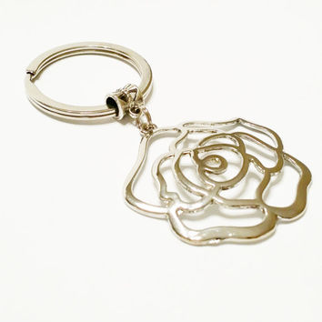 Silver Rose Keychain / Llaveros / Silver Tone Rose Key Ring / Flower Key Chain / Metal Rose Charm /  Rose Pendant / Gift Under 10