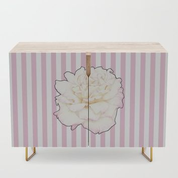Pale Rose on Stripes Credenza by drawingsbylam