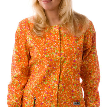 Women's Designer Orange Bubbles Print Scrubs Jacket