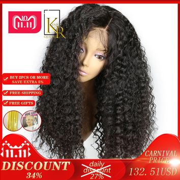 Lace Front Human Hair Wigs 250% Density Remy Brazilian Curly Wigs For Women Plucked With Baby Hair Natural Color King Rosa Queen