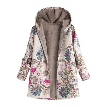 Plus Size Coat Long Winter Jacket Women Winter Warm Outwear Floral Print Hooded Pockets Vintage Oversize Coats veste femme A8
