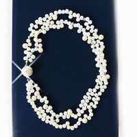 Bridesmaids Gift Pearl Necklace Double Strands with Rhinestone Closure, Pearl Jewelry, Handmade to Order
