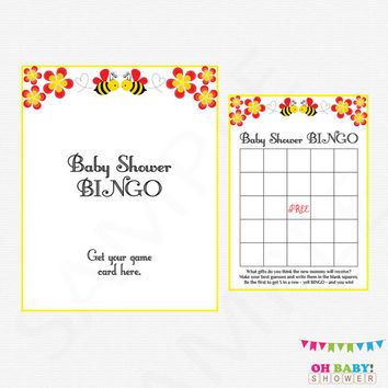Bee Baby Shower Bingo Game, Honey Bee Baby Shower, Bumble Bee Baby Shower, Printable Bee Baby Shower Bingo, Gender Neutral, DOWNLOAD, BN01